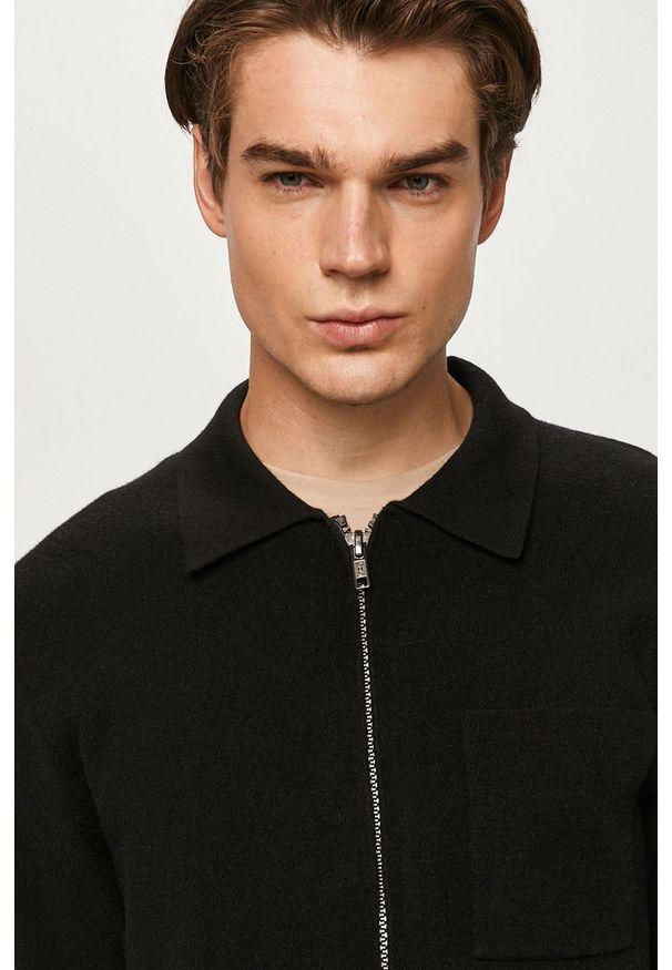 Czarny sweter rozpinany Tailored & Originals casualowy, na co dzień