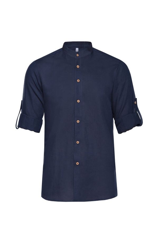 Niebieska koszula VEVA na wiosnę, z dekoltem na plecach