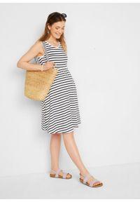 Sukienka ciążowa z dżerseju w paski bonprix ciemnoniebiesko-biały w paski. Kolekcja: moda ciążowa. Kolor: niebieski. Materiał: jersey. Wzór: paski