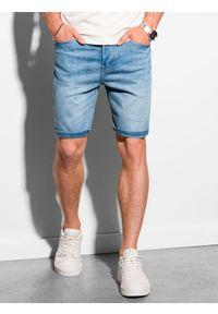 Ombre Clothing - Krótkie spodenki męskie jeansowe W310 - jasny jeans - XXL. Materiał: jeans. Długość: krótkie. Sezon: lato