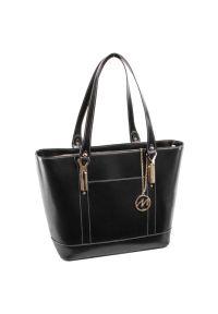 Czarna torba na laptopa MCKLEIN wizytowa, z aplikacjami