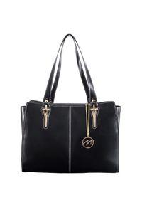 MCKLEIN - Ekskluzywna skórzana torebka damska czarna Mcklein Glenna 97545. Kolor: czarny. Wzór: paisley. Materiał: skórzane. Styl: klasyczny, wizytowy, elegancki. Rodzaj torebki: na ramię