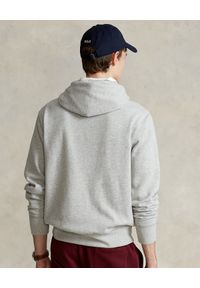 Ralph Lauren - RALPH LAUREN - Szara bluza z kapturem i granatowym logo. Typ kołnierza: kaptur. Kolor: szary. Materiał: bawełna. Długość rękawa: długi rękaw. Długość: długie. Wzór: napisy, aplikacja