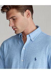 Ralph Lauren - RALPH LAUREN - Niebieska koszula Mesh Slim Fit. Typ kołnierza: polo. Kolor: niebieski. Materiał: mesh. Długość rękawa: długi rękaw. Długość: długie. Wzór: haft