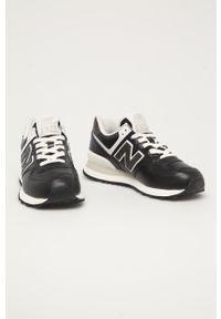 Czarne buty sportowe New Balance New Balance 574, z okrągłym noskiem, na sznurówki, z cholewką