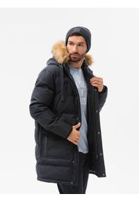 Ombre Clothing - Kurtka męska zimowa C514 - czarna - XXL. Kolor: czarny. Materiał: poliester. Sezon: zima