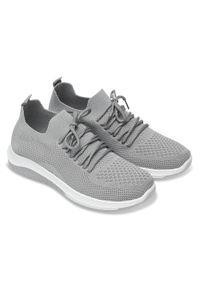 Szare buty sportowe N/M bez zapięcia, trekkingowe