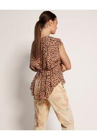 ONETEASPOON - Koralowa koszulka w cętki. Okazja: na co dzień. Kolor: pomarańczowy. Materiał: jeans, wiskoza. Długość: długie. Wzór: motyw zwierzęcy, aplikacja. Styl: casual #4