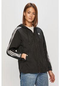 Czarna kurtka adidas Originals casualowa, z kapturem, na co dzień