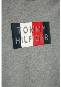 Szara koszulka z długim rękawem TOMMY HILFIGER casualowa, na co dzień, z aplikacjami