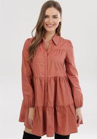 Born2be - Łososiowa Sukienka Hellgem. Kolor: różowy. Długość rękawa: długi rękaw. Typ sukienki: koszulowe, trapezowe. Styl: elegancki. Długość: mini