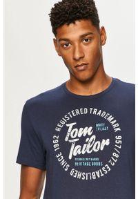 Niebieski t-shirt Tom Tailor Denim z okrągłym kołnierzem, casualowy