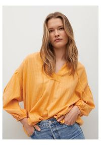 mango - Mango Bluzka Waves 17060169 Żółty Relaxed Fit. Kolor: żółty