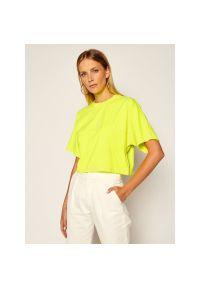 Żółty t-shirt Calvin Klein Jeans z nadrukiem
