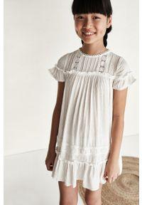 Kremowa sukienka Mayoral z haftami, rozkloszowana, mini