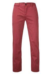 Chiao - Elastyczne Spodnie Męskie, CHINOSY, Zwężane Nogawki, Kolorowe, Łososiowe. Kolor: różowy. Materiał: lycra, bawełna. Wzór: kolorowy