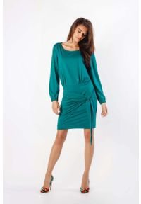 Nommo - Zielona Dzianinowa Sukienka z Ozdobnym Wiązaniem. Kolor: zielony. Materiał: dzianina