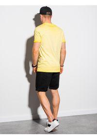 Ombre Clothing - T-shirt męski bawełniany S1388 - żółty - XXL. Kolor: żółty. Materiał: bawełna