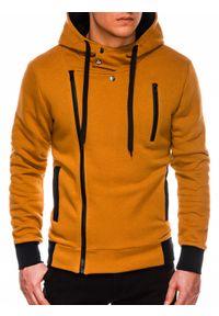 Ombre Clothing - Bluza męska rozpinana z kapturem B297 - ruda - XXL. Typ kołnierza: kaptur. Kolor: brązowy. Materiał: dzianina, poliester, bawełna