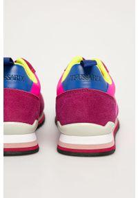 Różowe buty sportowe Trussardi Jeans z cholewką, na sznurówki