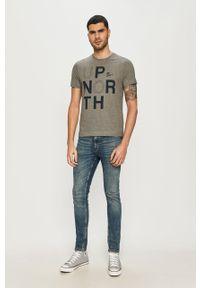 Szary t-shirt s.Oliver z nadrukiem, casualowy, na co dzień