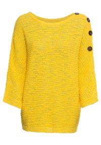 Sweter dzianinowy z guzikami bonprix żółty kukurydziany. Kolor: żółty. Materiał: dzianina