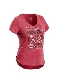quechua - Koszulka turystyczna NH500 damska. Kolor: czerwony. Materiał: lyocell, poliester, materiał, bawełna. Wzór: ze splotem