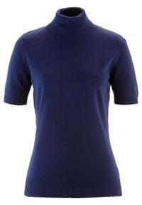 Sweter z golfem, krótki rękaw bonprix Sweter kr.ręk.c.nieb. Typ kołnierza: golf. Kolor: niebieski. Długość rękawa: krótki rękaw. Długość: krótkie. Styl: klasyczny