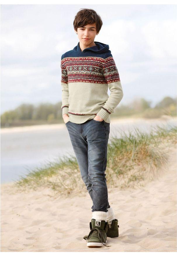 Beżowy sweter bonprix melanż, z kapturem