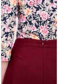 Marie Zélie - Spódnica Driada wełna bordowa. Kolor: czerwony. Materiał: wełna. Wzór: motyw zwierzęcy