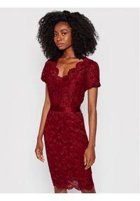 Guess Sukienka koktajlowa Amelie W1YK06 KAQN0 Bordowy Slim Fit. Kolor: czerwony. Styl: wizytowy