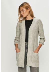 Szary sweter rozpinany Jacqueline de Yong casualowy, na co dzień