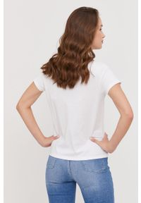 Biała bluzka Guess z nadrukiem, casualowa, na urodziny