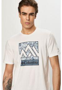 Biały t-shirt columbia casualowy, na co dzień, z nadrukiem