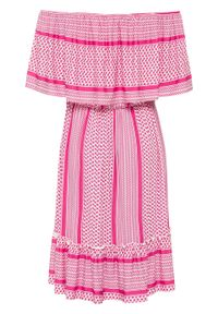 Różowa sukienka bonprix z kołnierzem typu carmen