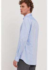 BOSS - Boss - Koszula bawełniana. Typ kołnierza: kołnierzyk włoski. Kolor: niebieski. Materiał: bawełna. Długość rękawa: długi rękaw. Długość: długie. Wzór: gładki