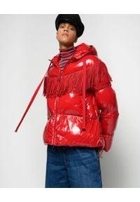 Pinko - PINKO - Czerwona kurtka z frędzlami Donato. Kolor: czerwony. Materiał: tkanina, nylon. Długość: długie. Wzór: aplikacja. Sezon: zima, jesień