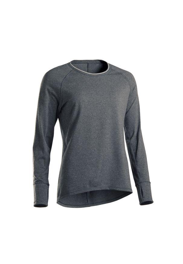 KIMJALY - Koszulka do łagodnej jogi długi rękaw. Kolekcja: moda ciążowa. Kolor: szary. Materiał: elastan, jersey, materiał, bawełna. Długość rękawa: długi rękaw. Długość: długie. Sport: joga i pilates