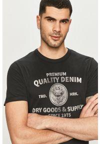 Czarny t-shirt Premium by Jack&Jones na co dzień, z nadrukiem