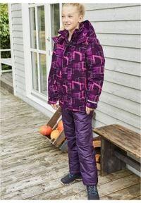 Kurtka dziewczęca narciarska nieprzemakalna i wiatroszczelna bonprix lila-śliwkowy-neonowy różowy. Typ kołnierza: kaptur. Kolor: fioletowy. Materiał: materiał, poliester