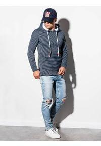 Ombre Clothing - Bluza męska z kapturem B1092 - granatowa - XXL. Typ kołnierza: kaptur. Kolor: niebieski. Materiał: poliester, bawełna