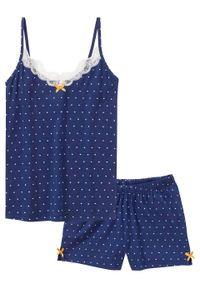 Piżama z krótkimi spodniami i topem na cienkich ramiączkach bonprix kobaltowy w kropki