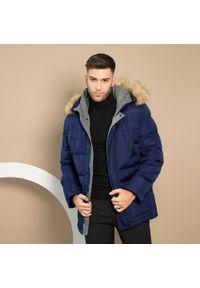 Niebieska kurtka Wittchen z kapturem, klasyczna, na zimę