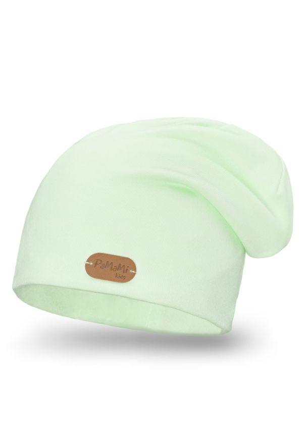 Wiosenna czapka PaMaMi - Pistacjowy. Kolor: zielony. Materiał: bawełna, elastan. Sezon: wiosna
