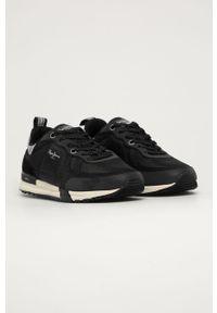 Czarne sneakersy Pepe Jeans na sznurówki, z okrągłym noskiem, z cholewką