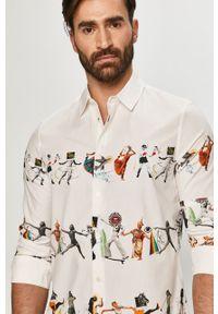 Biała koszula Desigual klasyczna, długa, z klasycznym kołnierzykiem, na co dzień