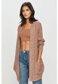 Różowy sweter rozpinany Jacqueline de Yong casualowy, gładki, na co dzień