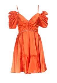 Born2be - Koralowa Sukienka Evenhall. Kolor: pomarańczowy
