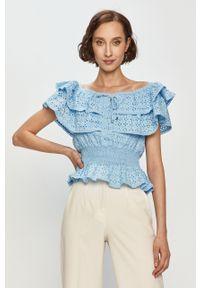 Niebieska bluzka Guess na co dzień, casualowa, z dekoltem typu hiszpanka, gładkie