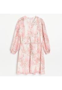 Reserved - Sukienka z tkaniny plumeti - Kremowy. Kolor: kremowy. Materiał: tkanina